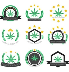Medical cannabis logo set Medical marijuana logo vector