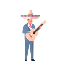 mexican music man with guitar wear traditional vector image