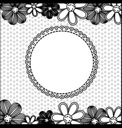 monochrome pattern dotted with flowers background vector image vector image