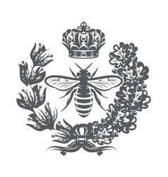 Monochrome with bee imperial crown vector
