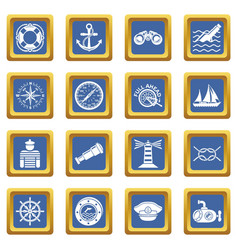 nautical icons set blue square vector image