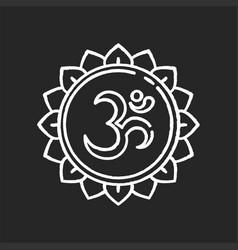 Om chalk white icon on black background vector