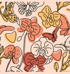 orchids and butterflies seamless background vector image