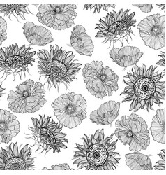 Pattern with sunflowers and poppies vector
