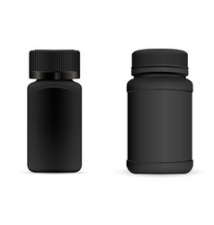 pills bottles black round and square medical vector image
