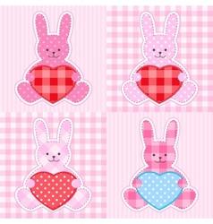 Pink rabbits cards vector