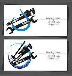 Plumbing service business card with water drop vector