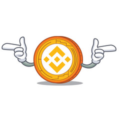Pointing finger binance coin character catoon vector