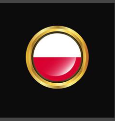 Poland flag golden button vector