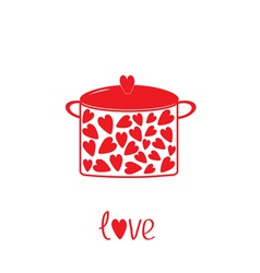 Pot with hearts Love card vector image