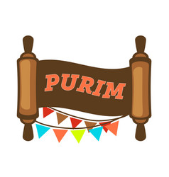purim holiday paper scroll jewish religion event vector image