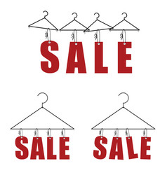 Sale on hanger for clothes in red color vector