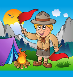 Scout boy with flags outdoor vector