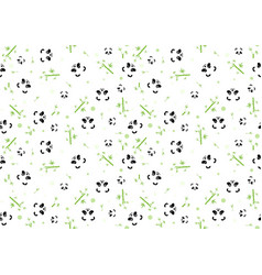 seamless bapattern with panda face vector image