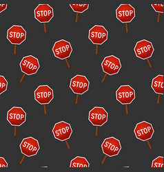 seamless pattern stop sign vector image