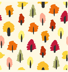Seamless simple autumn forest tree pattern vector