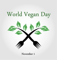 Seedling from a fork- World vegan day November 1 vector