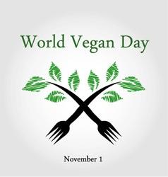 Seedling from a fork- world vegan day november 1 vector