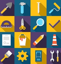 set flat style building icons with long shadow vector image