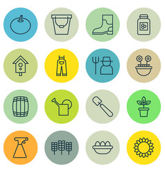 Set of 16 plant icons includes rubber boot vector