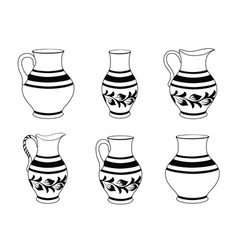 Set of ceramic crockery in black and white colors vector