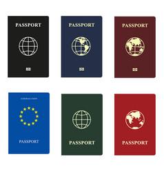 set passports with globe vector image