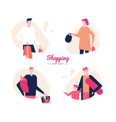 Shopping - flat design style characters set vector