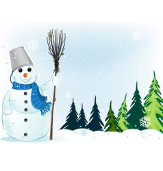 Smiling snowman with broom and bucket vector image