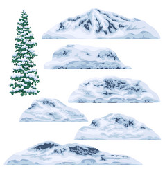Snow-capped mountains and hills vector