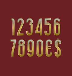 Solemn golden numbers with currency signs of vector