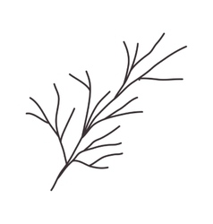 stem silhouette drawing with branches vector image