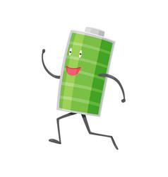 Strong battery man running charging indication vector