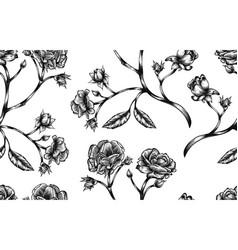Vintage rose seamless pattern vector