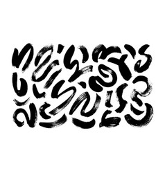 Wavy and swirled brush strokes collection vector