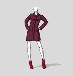Woman in a wine red short autumn coat vector