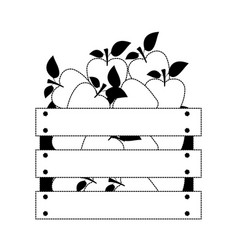 wooden basket with apples in black dotted vector image
