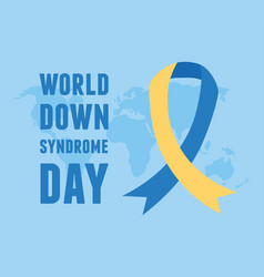 World down syndrome day ribbon campaign map vector