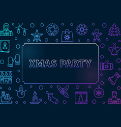xmas party outline colored frame vector image