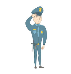 young caucasian police officer saluting vector image