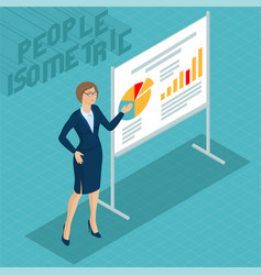young woman at business presentation vector image