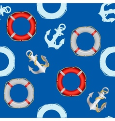 Anchor stencil and lifebuoy seamless pattern vector image
