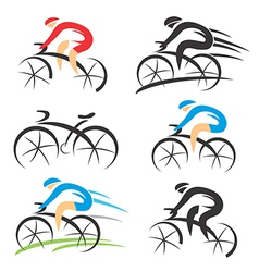 Icons with stylized cyclist vector image vector image