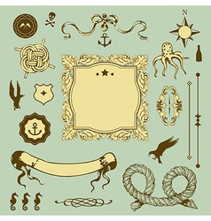 Nautical set with elements for Your design vector image