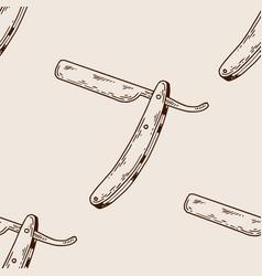 straight razor seamless pattern engraving vector image
