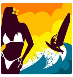 surf and girl vector image vector image