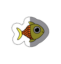 yellow happy fish scalescartoon icon vector image vector image
