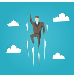 Businessman superhero flight vector image