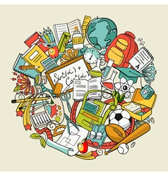 freehand school items in a pile vector image