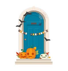 halloween door decorations blue front door with vector image vector image