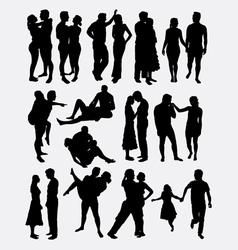 Romantic love couple silhouette vector image